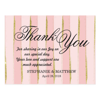Chic Gold Pink Stripes Thank You Postcards
