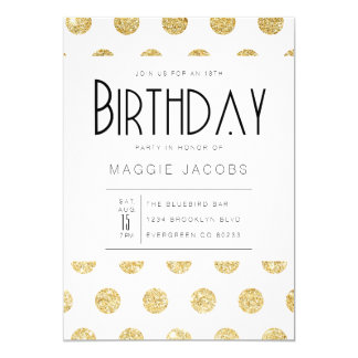 Chic Gold Polka Dot Birthday Party Card