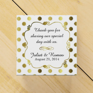 Chic Gold Polka Dot Custom Wedding Favor Gift Box
