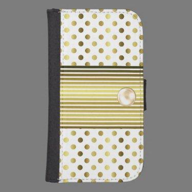 Chic Gold Polka Dot Samsung Galaxy S4 Wallet Case