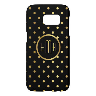 Chic Gold Polka Dots on Black with Monogram Samsung Galaxy S7 Case