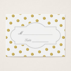 Chic Gold Polka Dots Wedding Place Card at Zazzle