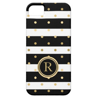 Chic Gold-Polka Dots With Black & White Stripes iPhone SE/5/5s Case