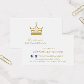 Chic Gold Princess Crown Pink Rose Hair Stylist Business Card