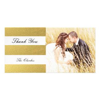 CHIC GOLD PRINT   WEDDING THANK YOU PHOTO CARD