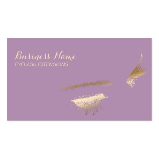 Chic Gold & Purple Eyelash Extensions Business Card