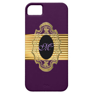 Chic Gold Purple Vintage Initial / House-of-Grosch iPhone SE/5/5s Case