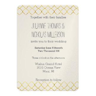 Chic Gold Quatrefoil Wedding Card