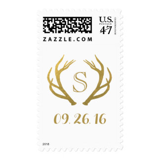 CHIC GOLD | RUSTIC ANTLER WEDDING POSTAGE