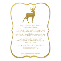 CHIC GOLD   RUSTIC DEER SAVE THE DATE CARD