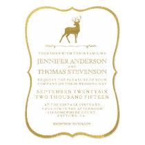 CHIC GOLD   RUSTIC DEER WEDDING INVITATIONS