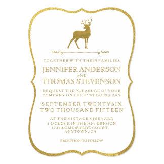 chic gold rustic deer wedding invitations - Deer Wedding Invitations