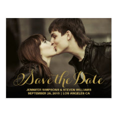 Chic Gold | Save The Date Announcement Postcard at Zazzle