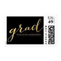 Chic Gold Script in Black | Graduation Postage