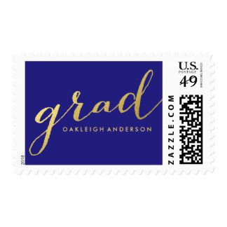 Chic Gold Script in Navy Blue | Graduation Postage