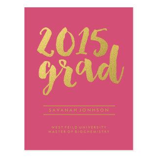 Chic Gold Script | Pink Graduate Photo Postcard
