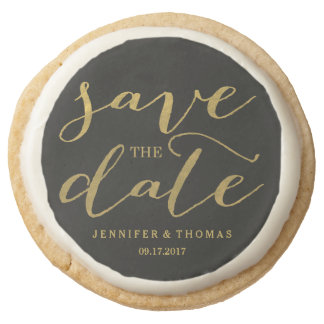 Chic Gold Script Save the Date Cookies Round Premium Shortbread Cookie