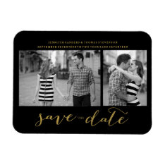Chic Gold Script Save The Date Magnet Invitations at Zazzle