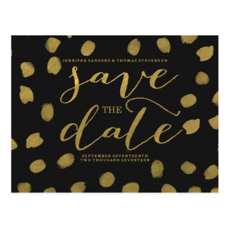 Chic Gold Script Save the Date Postcard