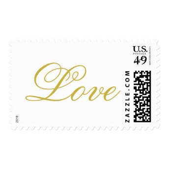 Chic Gold Script White Love Wedding Postage