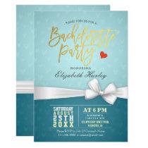Chic Gold Script White Ribbon Bachelorette Party Card