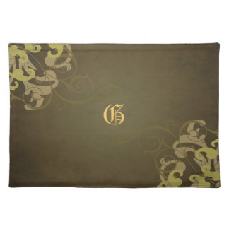 Chic Gold Scroll Brown Monogram Placemats