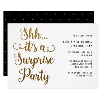 Chic Gold Shh... It's a Surprise Party Typography Card