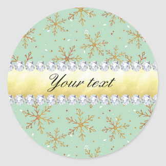 Chic Gold Snowflakes and Diamonds Pale Green Classic Round Sticker