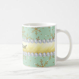 Chic Gold Snowflakes and Diamonds Pale Green Coffee Mug
