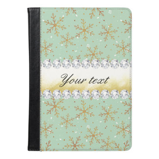 Chic Gold Snowflakes and Diamonds Pale Green iPad Air Case