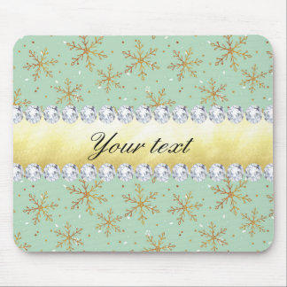 Chic Gold Snowflakes and Diamonds Pale Green Mouse Pad