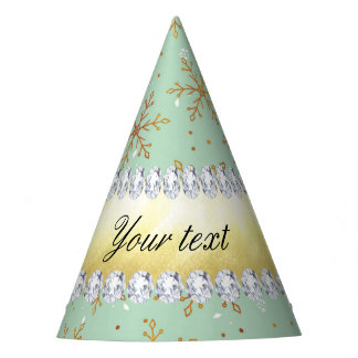 Chic Gold Snowflakes and Diamonds Pale Green Party Hat