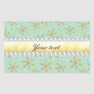 Chic Gold Snowflakes and Diamonds Pale Green Rectangular Sticker