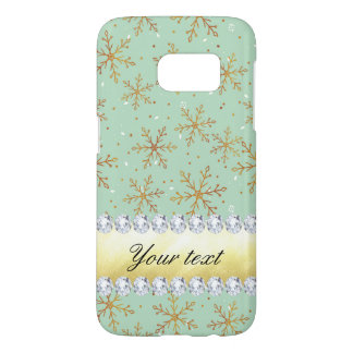 Chic Gold Snowflakes and Diamonds Pale Green Samsung Galaxy S7 Case