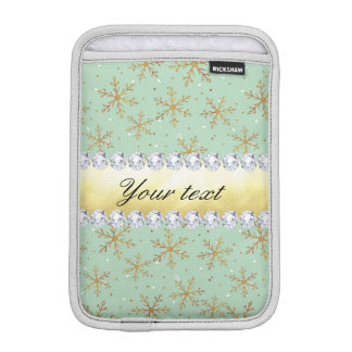 Chic Gold Snowflakes and Diamonds Pale Green Sleeve For iPad Mini
