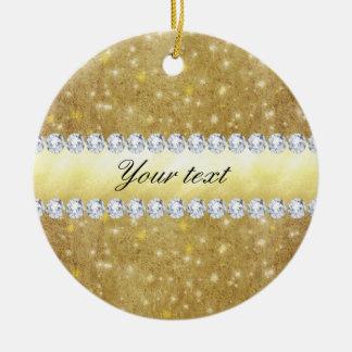 Chic Gold Sparkling Stars and Diamonds Ceramic Ornament