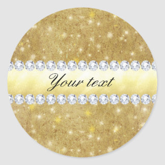 Chic Gold Sparkling Stars and Diamonds Classic Round Sticker