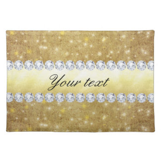 Chic Gold Sparkling Stars and Diamonds Cloth Placemat