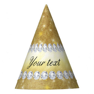 Chic Gold Sparkling Stars and Diamonds Party Hat