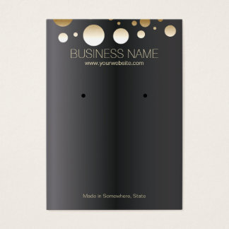 Chic Gold Spots Dark Jewelry and Earring Display Business Card