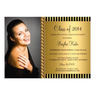 Chic Gold Stripe Photo Graduation Party Invite