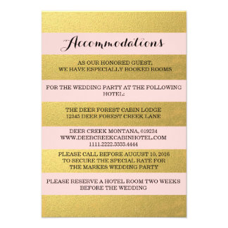 CHIC GOLD STRIPES ACCOMMODATION CARD INVITE