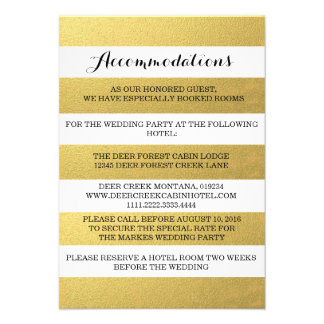 CHIC GOLD STRIPES ACCOMMODATION CARD CUSTOM ANNOUNCEMENT
