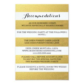 "CHIC GOLD STRIPES ACCOMMODATION CARD 3.5"" X 5"" INVITATION CARD"