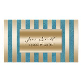Chic Gold Stripes Teal Green Makeup Artist Business Cards