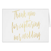"Chic Gold ""Thank you for capturing our wedding"" Card"