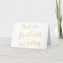 "Chic Gold ""Thank you for capturing our wedding"" Thank You Card"