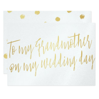 """Chic Gold """"To my grandmother on my wedding day"""" Card"""