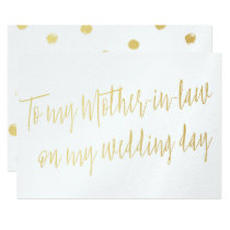 "Chic Gold ""To my mother-in-law on my wedding day"" Card"