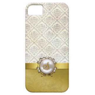 Chic Gold Tone & Cream Damask iPhone 5 Case